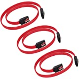 ELUTENG SATA ケーブル ストレート 3点セット シリアルATAケーブル 50cm SATA3 / SATA2 データコード 抜け防止 ラッチ付 コネクタ 7PIN SATA Cable 延長 2.5 / 3.5インチ 内臓 HDD / SSD等 対応 シリアル ATA 延長