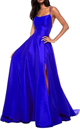 Ladsen 2018 Sexy Cross-Back Stain Slit Prom Dresses Royal Blue US0 Size