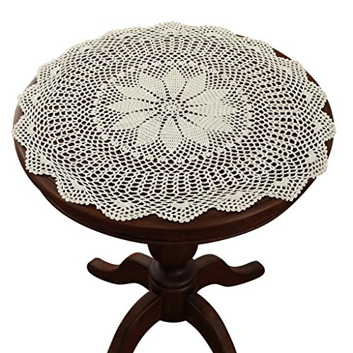 gracebuy 23 Inch Beige Round Handmade Crochet Lace Tablecloth Doilies