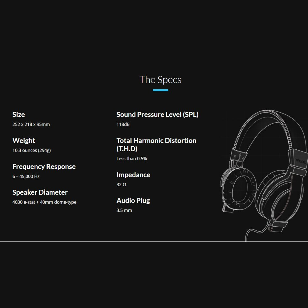 SHARKK Bravo Auriculares - Muy cómodo, Ligero, cancelación de Ruido Auriculares Over-Ears - la más asequible híbrido móvil electrostática: Amazon.es: Amazon ...