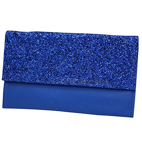 HandBags Clutch Shoulder Faux Girly Evening Chain Oversized Royal Womens Elegant Fashion Wocharm Bag Blue Leather Events 0wgnqWwB4O