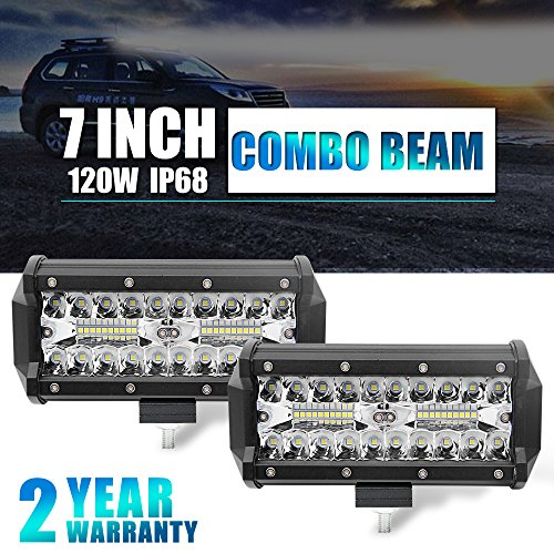 Colight LED Light Bar 2PCS 7 Inch 80W Cree Chip Driving Light WaterproofLed Work Light Three Row for Off-road Truck Car ATV SUV Jeep Cabin Boat, 2 Years Warranty, JG-9632T-7 inch