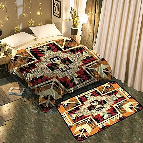 Two-Piece Blanket Floor matNative American Inspired Retro Aztec Pattern Mod Graphic Design Boho Chic Art Print Add Fashion to Room's Decor Blanket 50
