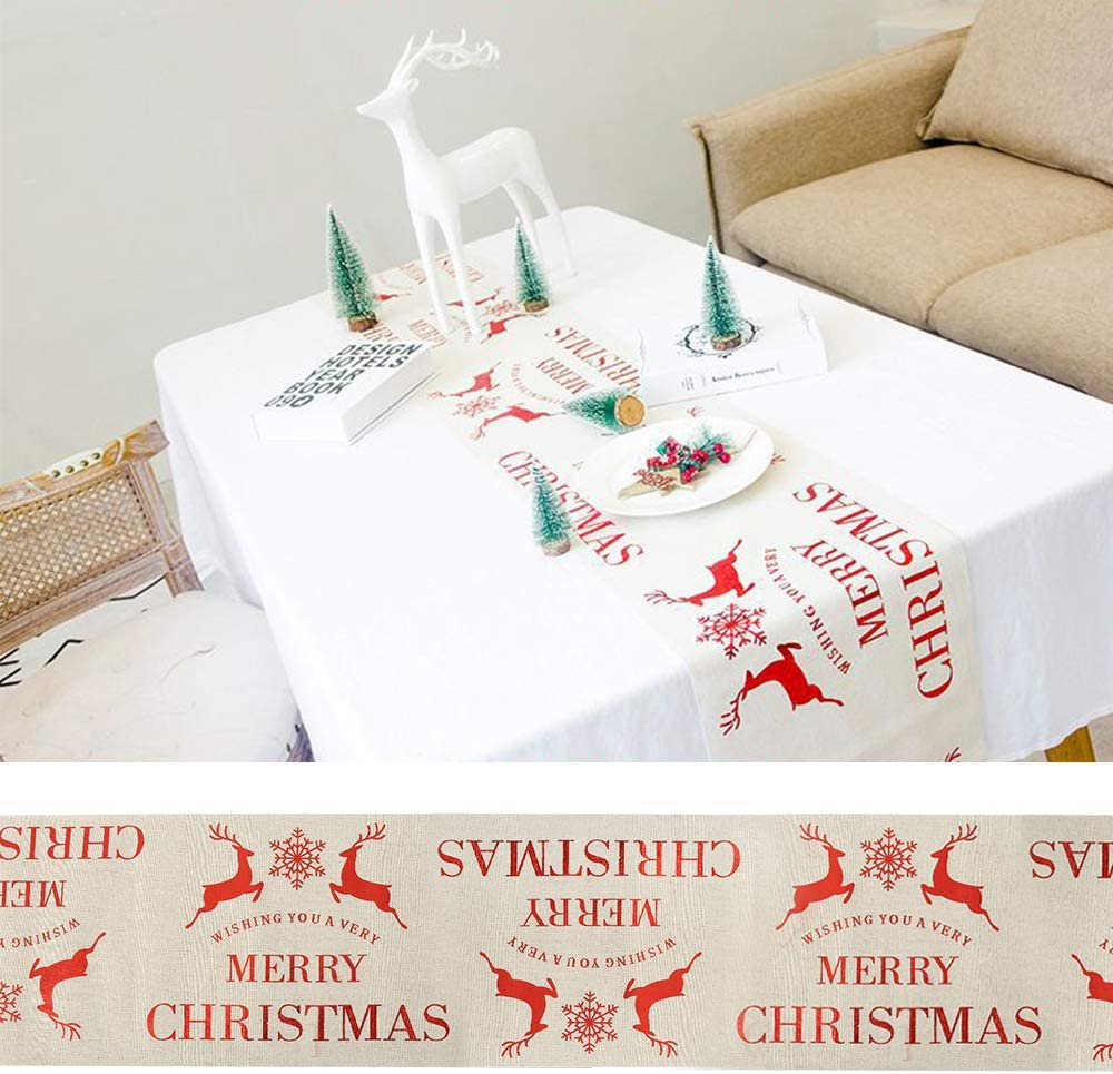 A, 28 x 270cm FlowersSea Christmas Table Runner Snowflake Elk Wreath Pattern Table Cloth Festive Holiday Party Home Xmas Decoration Gift 28 x 270cm