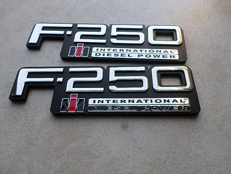 83-94 New Set of 2 Custom Chrome F-250 International Diesel Power Side  Fender Door Logo Tailgate Emblem TEWOBSF250 Nameplate Decal