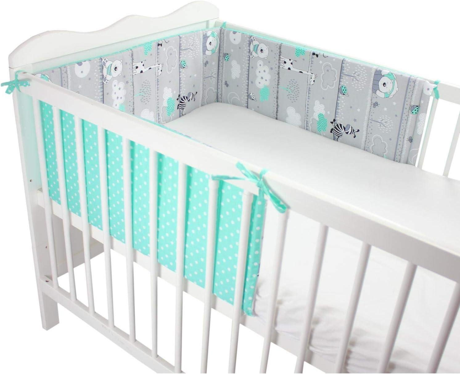 Gr/ö/ße: 180x30cm TupTam Babybett Kopfumrandung Nestchen Kurz Gemustert f/ür Babybett 120x60 Farbe: Flamingo Mint