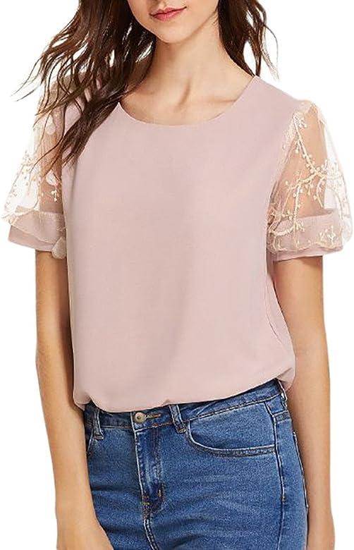 Damen Sommer Chiffon Hemden Bluse Kurzarm T-Shirt Damen Top Übergröße