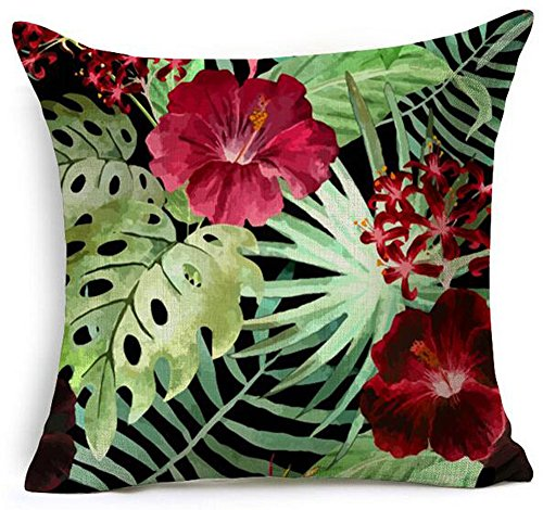 Hand-painted Tropical Flowers and Birds Foliage Plant Christmas Gift Cotton Linen Decorative Throw Pillow Case Cushion Cover Square 18