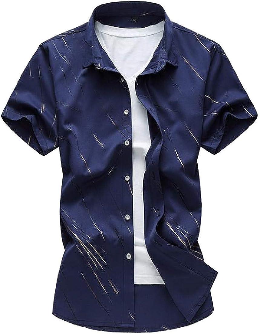 Hajotrawa Men Striped Fashion Jacquard Lapel Neck Button Down Shirts