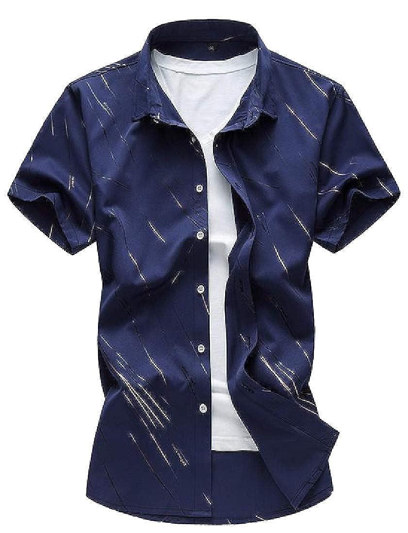 pipigo Men Jacquard Striped Lapel Neck Basic Button Down Shirts