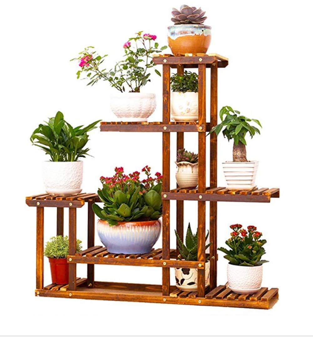 wly&home Wooden Flower Stands Plant Display Stand Wood Pot Shelf Storage Rack Outdoor Indoor 6 Pots Holder