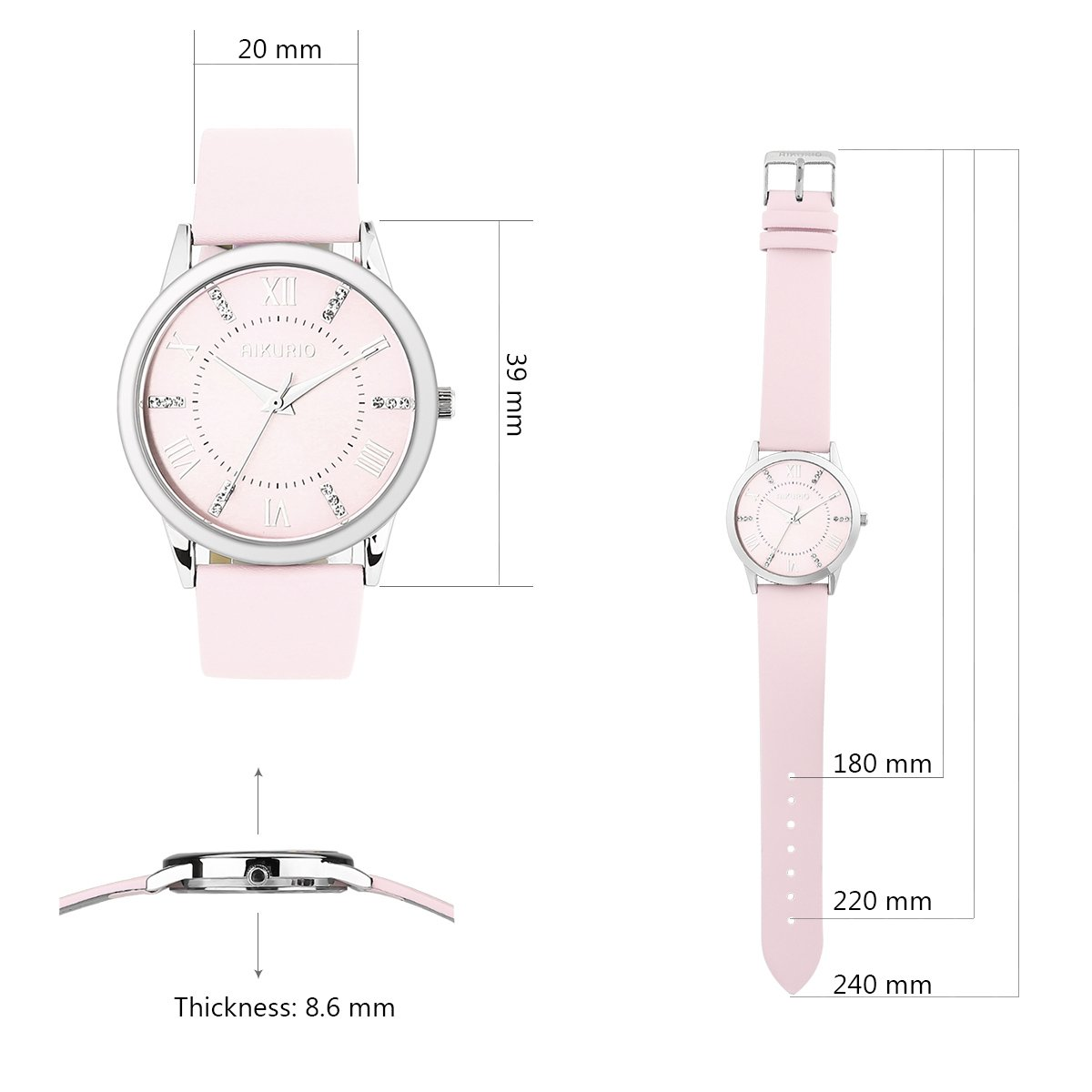 AIKURIO Women Ladies Wrist Watch Waterproof Quartz Watch with Crystal Dial Clock Leather for Female Luxury Fashion Business Classic (Pink) by AIKURIO (Image #2)