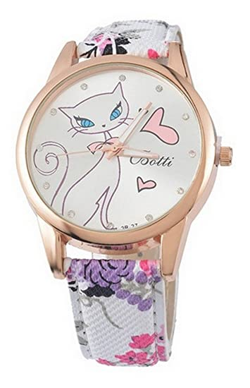 Reloj Pulsera Mujer Estampado Gato en Reloj y Flores sobre Pulsera ...