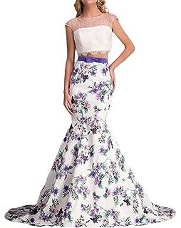 M Bridal Womens Cap Sleeve Crew Neck 2 Piece Printed Satin Mermaid Prom Dress