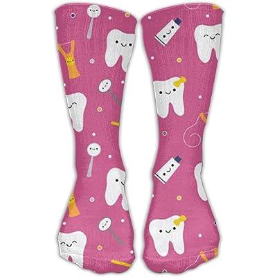 quanzhouxuhuixiefu Happy Teeth & Friends - Dark Pink Cotton Crew Athletic Sock Compression Socks For Women 50CM: Deportes y aire libre