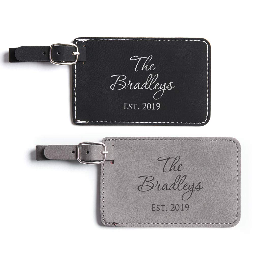 Pair (2) Personalized Wedding Luggage Tags - Personalized Vegan Leather Honeymoon Luggage Tag with Names Wedding Gift (Black & Gray) by Lifetime Creations