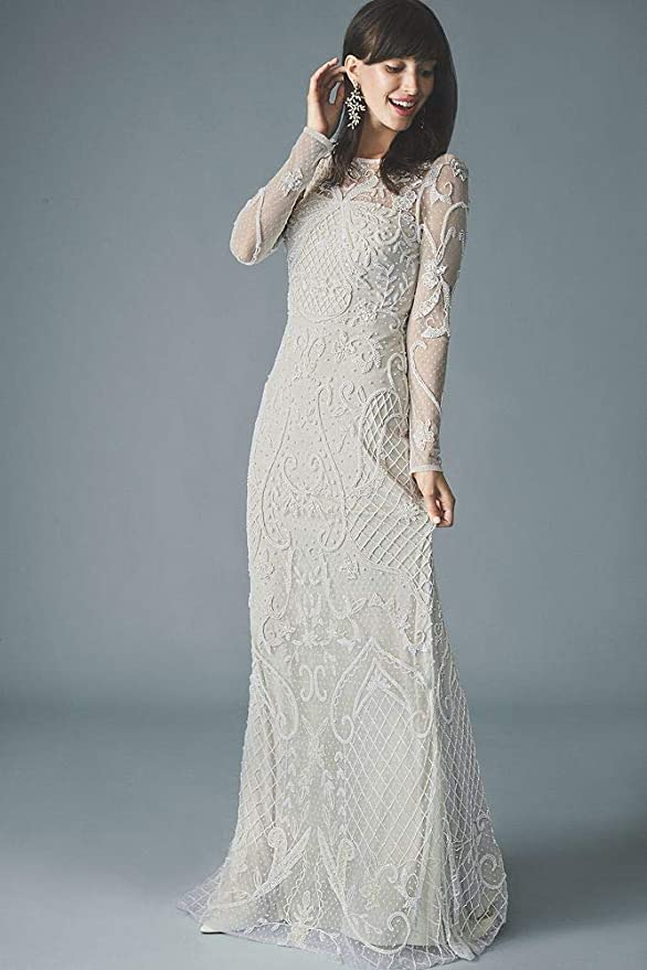 Image result for Allover Scroll Beaded Illusion Long Sleeve Gown