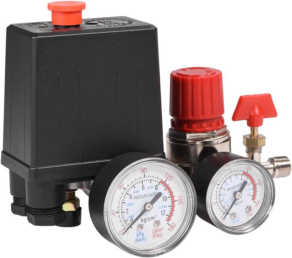 Mumusuki R/égulateur de Valve de Commande de commutateur de Pression de compresseur dair avec des mesures pour la r/éduction Rapide de Pression 0.05-1.2Mpa 3000L Min