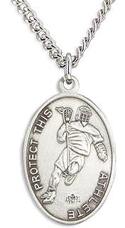 Heartland Store Mens Pewter Oval Saint Sebastian Volleyball Medal Chain Choice USA Made