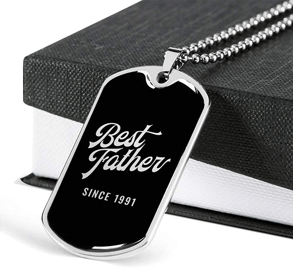 Luxury Dog Tag Necklace Unique Gifts Store Best Father Since 1991 v3