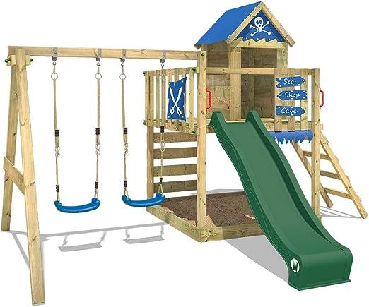 Parco giochi in legno WICKEY Smart Cave verde, giochi da giardino