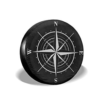 Ouqiuwa Spare Tire Cover Compass Wind Rose Black White Universal Wheel Covers for Jeep Trailer RV SUV 17 Inch for Diameter 31-33 Inch: Automotive