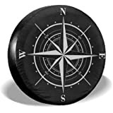 Ouqiuwa Spare Tire Cover Compass Vintage Universal Wheel Covers for Jeep Trailer RV SUV 14 Inch for Diameter 23-27 Inch