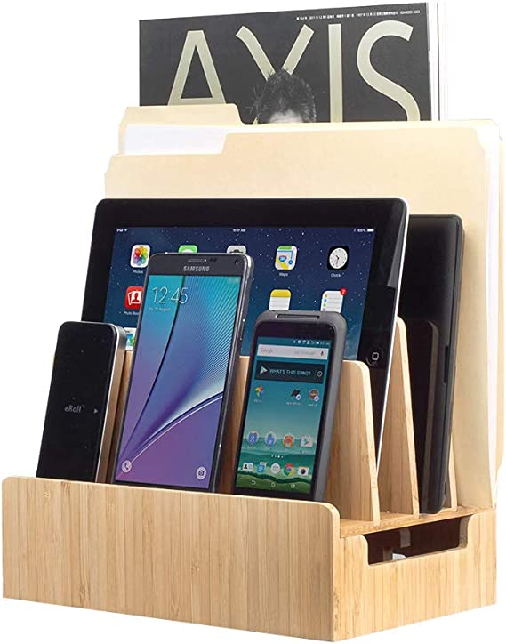 Tablets MobileVision Bamboo Charging Station /& Multi Device Organizer Slim Version for Smartphones and Laptops