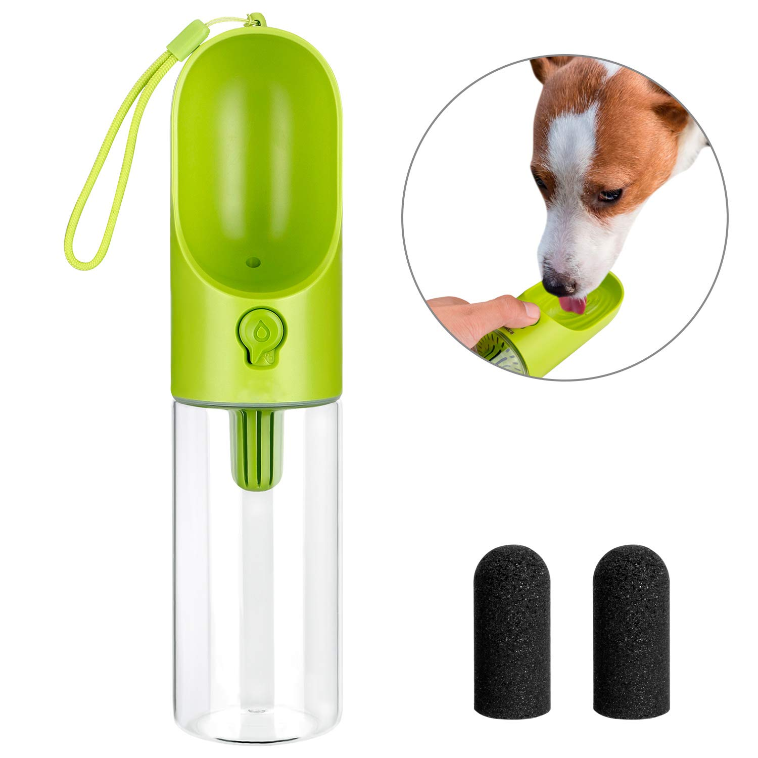 5f4ca586017a LC-dolida Dog Water Bottle for Walking, Pet Travel Water Dispenser Feeder  Container with Filter