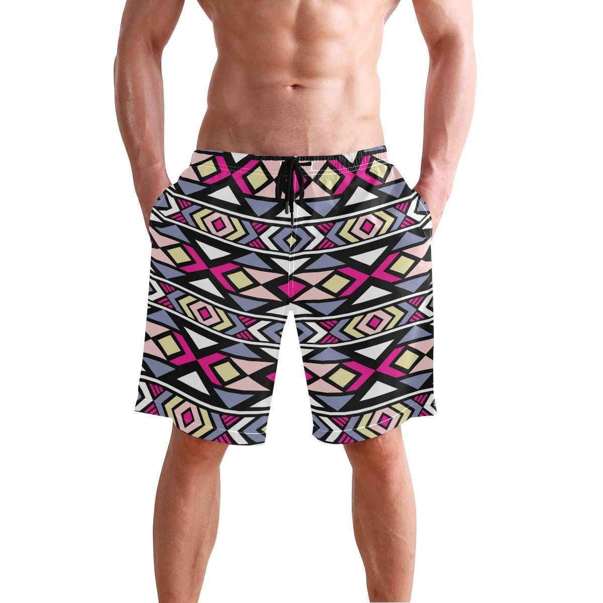 Ethnic Geometric Mens Trunks Beach Board Shorts Drawstring Waist Mesh Lining
