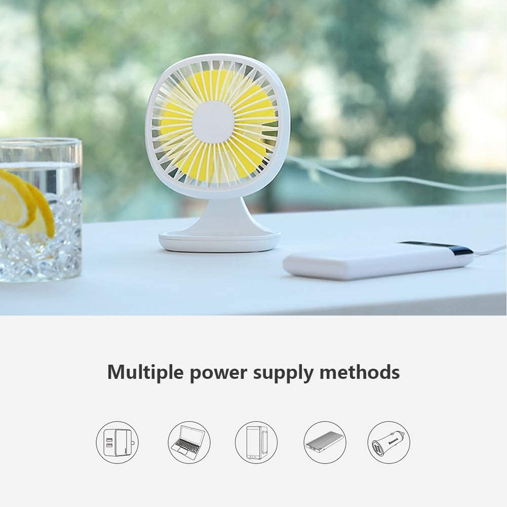 Chihen Small Fan USB Mini Portable Silent 3 Speed 120 /° Rotating Office Home Desk Fan Big Wind White Blue Pink Color : Yellow+Blue