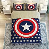 MeMoreCool Captain America Adults and Kids 5-Piece Bedding Set,Classic Characters 100% Cotton Duvet Cover Set,Upgrade Cotton Soft Bed Set