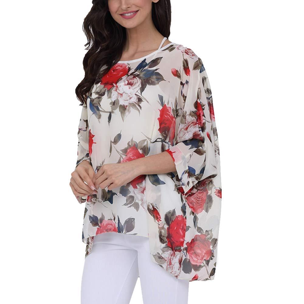 Max Hsuan Women Bohemian Floral Printed Blouse Batwing Sleeve Plus Sheer Chiffon Oversize Loose Top Tunic Tops