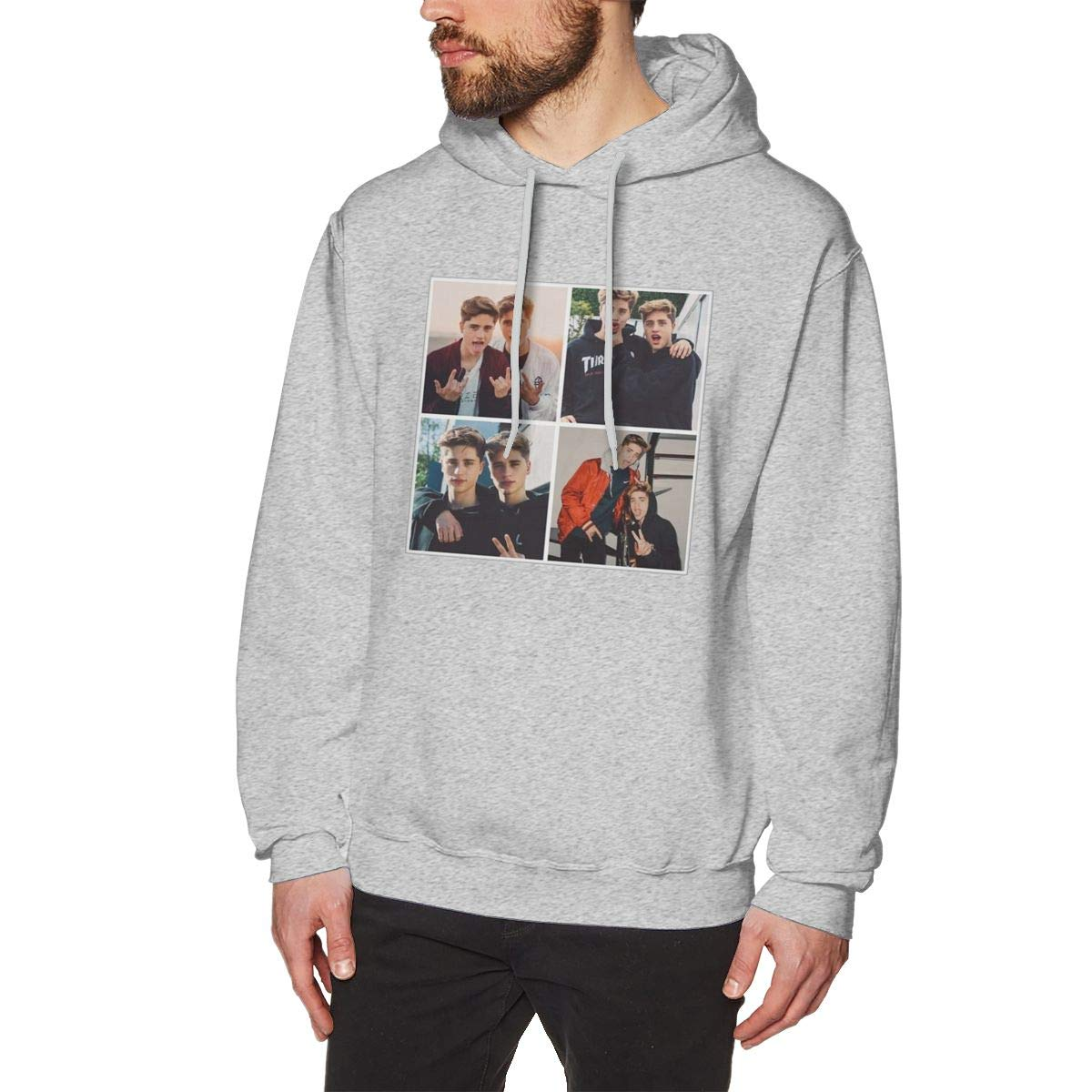 Mens Hooded Sweatshirt Martinez Twins Original Retro Literary Design Gray