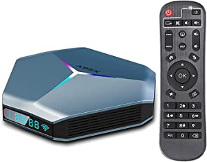 Android TV Box 4K Android 10.0 TV Box RAM 4GB ROM 64GB Support 2.4G/5.0G Dual WiFi AV1 Decoding Android Box with IR Remote Control