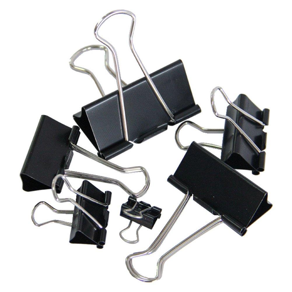 15 mm breit Leisial Mini-Papierklammern aus Metall 2 x 60 St/ück Schwarz schwarz