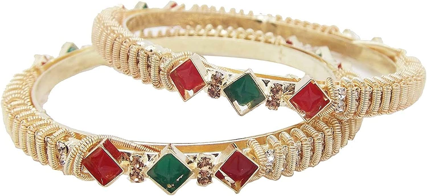 9blings Fancy Collection Ruby Green CZ Spring 2pc Gold Plated Bangle 00114-11576