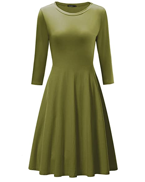 e31bb90a6a9d OUGES Women s 3 4 Sleeve Casual Cotton Flare Dress(Army Green ...