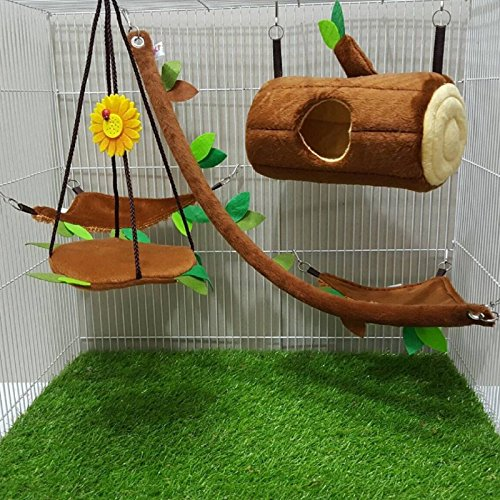 [Hot Sale! 5 Pcs Sugar Glider Hamster Squirrel Chinchillas Small Pet Light Brown Log Cage Set Forest Pattern, Polar Bear's Republic] (Chinchilla Pet Costumes)