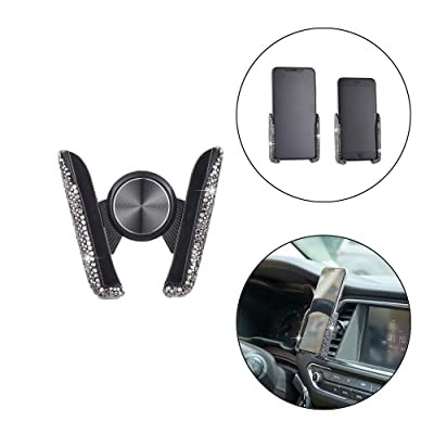 ATMOMO Black Bling Crystal Car Phone Mount Universal Air Vent Car Phone Holder Dashboard Phone Mount Stand Holder: Automotive