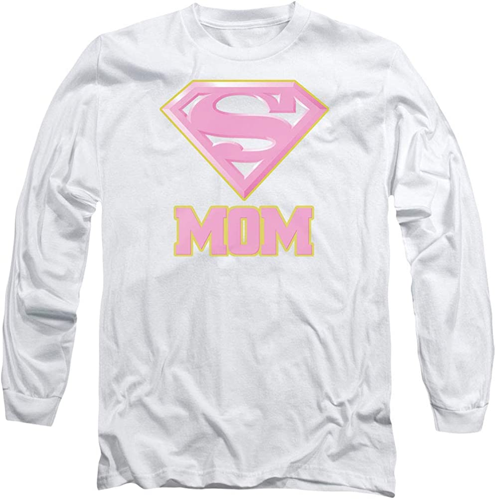 Superman Super Mom - Camiseta de Manga Larga para Hombre, Color Rosa y Blanco: Amazon.es: Ropa y accesorios