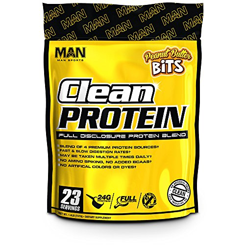 MAN Sports Clean Protein, Full Disclosure Protein Blend, Peanut Butter Bits, 1.6 Pounds