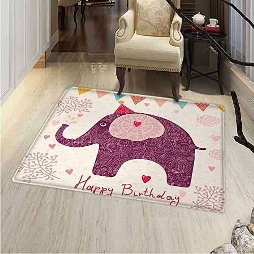 Kids Birthday Area Rug Carpet Asian Paisley Motif Image Purp