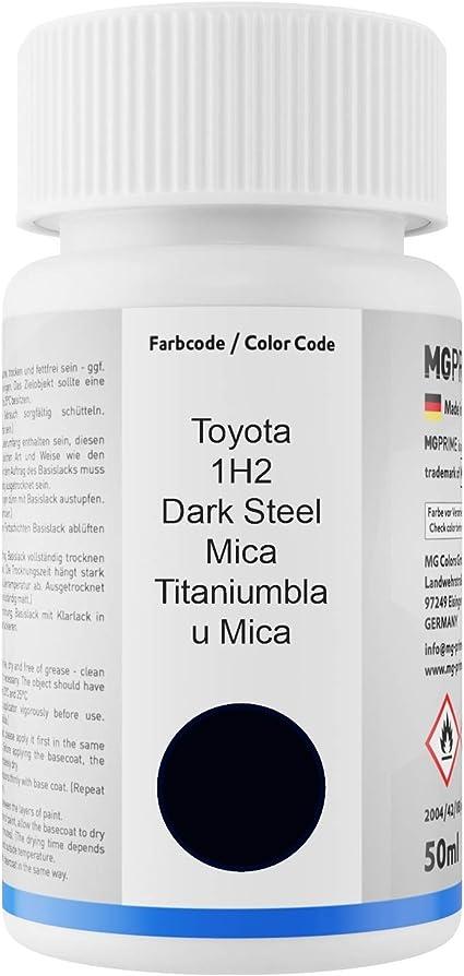 Mg Prime Autolack Lackstift Set Für Toyota 1h2 Dark Steel Mica Titaniumblau Mica Basislack Klarlack Je 50ml Auto