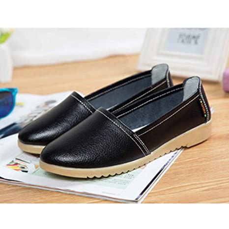 York Zhu Women Ballet Flats Leather Slip on Loafers Boat Shoes Ladies Walking Shoes