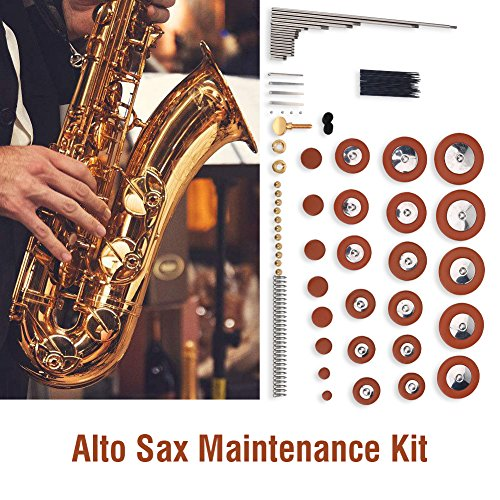 Part Sax Alto - Alto Sax Repair Parts Kit 1 Set Alto Saxophone Pad Set Repair Parts Kit Screws + Neck Screw + Nuts + Reeds + Felt Columns Saxophone Springs Maintenance Kit Wind Musical Instrument Parts Accessories