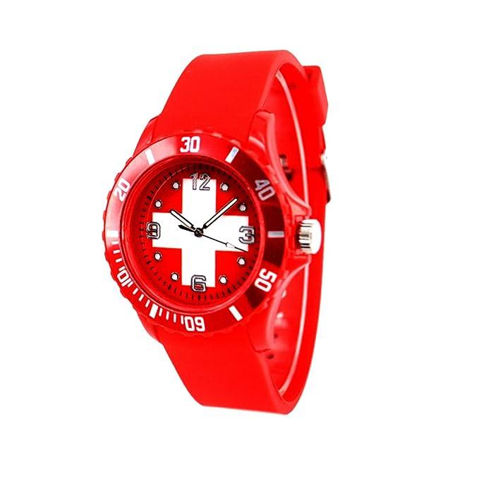 Reloj con la bandera de Suiza con pulsera de Silicona