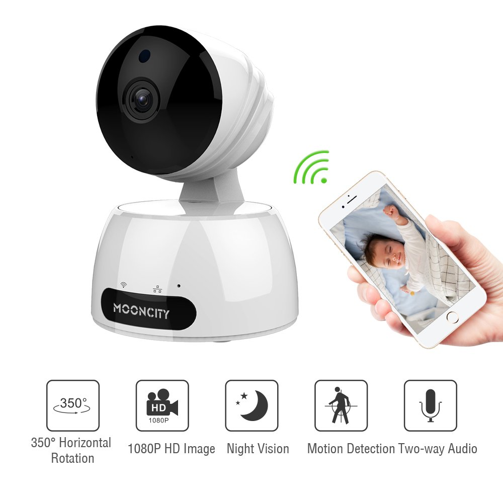 Home Security Camera Wireless, Baby/Pets/Elderly Monitor WiFi 1080P HD Indoor Home Video Surveillance Camera with Motion Detection, Night Vision, 2 Way Audio -White by mooncity