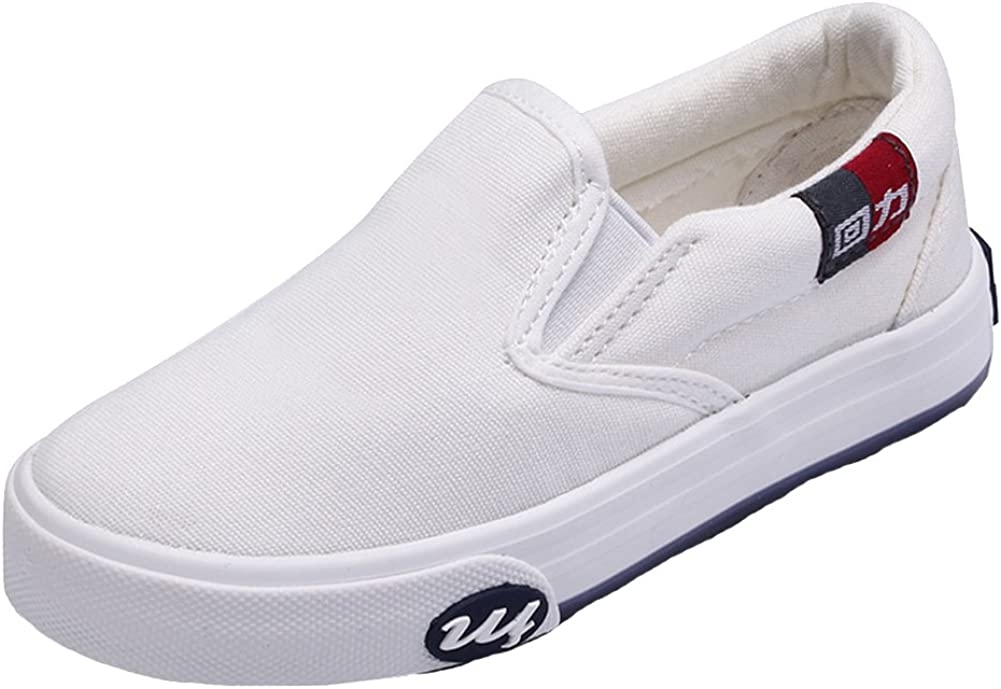 HW-GOODS Unisex Kids Canvas Sneakers Casual Slip-on Shoes White Toddler//Little Kid//Big Kid