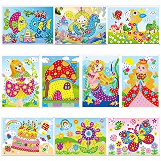 lizipai Crystal Mosaic Sticker Painting Kids Children Kindergarten Educational DIY Crafts Toys -10 Different